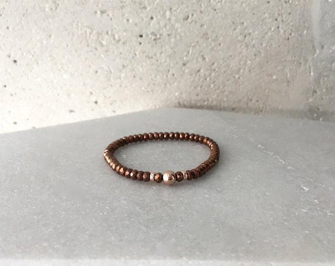Copper x Rose Gold Hematite Stretch Bracelet