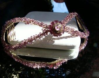 Crystal headpiece, Swarovski wedding headpiece, bridal hair headpiece, rose wedding crystal headpiece, jewelry hair accessories