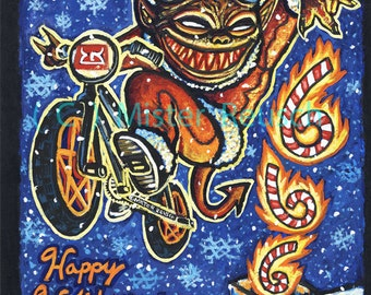 Original Little Devil Brand 2001 Christmas Devil Painting by Mister Reusch