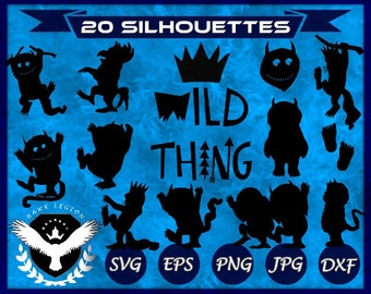 20 Where The Wild Things Are SVG | Wild Things Silhouette | Wild One Crown | Wild Things Decor | Wild Thing Printable | Wild Thing Decal |