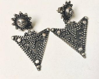 vintage boho sterling triangle earrings