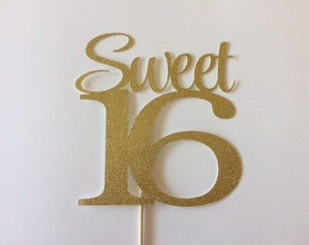 Any Name Glitter Happy Sweet 16 Birthday Cake Topper Sweet