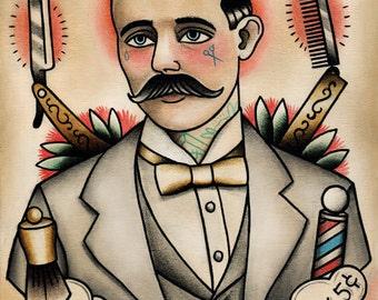 Traditional Tattooed Barber Tattoo Art Print