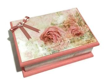Rambling Rose Keepsake Box, Trinket Box, Treasure Box, Jewellery Box, Memory Box, Wooden Box