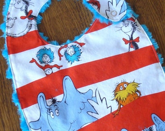 Red and White Striped Dr. Seuss Minky Baby/Toddler Bib - Last One