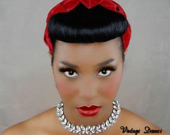 MADE TO ORDER, Women's Custom Cap, Red Velvet Hat, Velvet Hair Fascinator, Pleated Calot Half Hat, Red Juliet Cap, Custom Womens Hat,