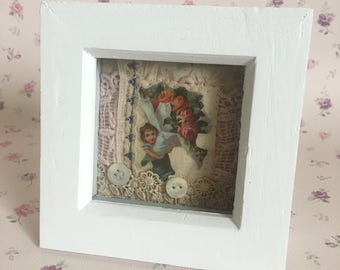 Mixed media vintage girl with bouquet of flowers framed art