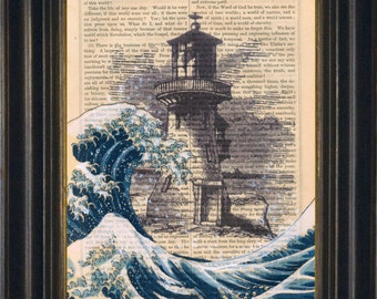 Mixed media with Acrylic Painting of  Hokusai's Great Wave with Lighthouse Ink and Paint Print on 1860's Antique Page