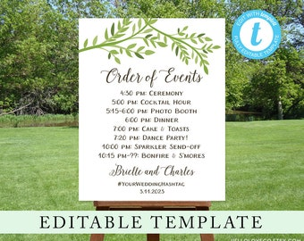 EDITABLE Wedding Order of Events Sign Template, Custom Wedding Schedule, Templett Green Leaves Wedding Itinerary, Leafy Forest Wedding