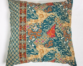 BatikSymphony, Cushion Cover, Decorative Pillow Cover, Bright Authentic Cushion Decor, Throw Pillow, 46 x 46cm