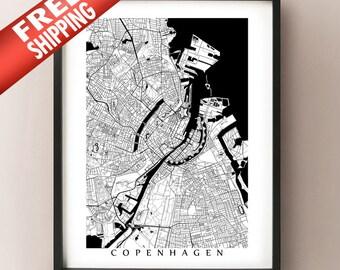 Copenhagen Map Print - Black and White Decor