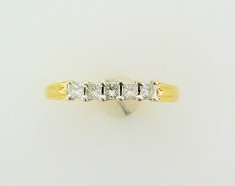 Yellow Gold Diamond Anniversary Ring, Princess Cut Diamond Ring, Diamond Wedding Ring, Vintage Diamond Ring, Vintage Ring