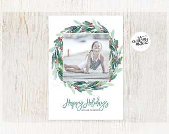 Holiday Photo Cards, Holiday Photo Cards Printable, Holly Wreath, Personalized, Christmas Photo Card, DIY Printable, Printed Holiday Cards