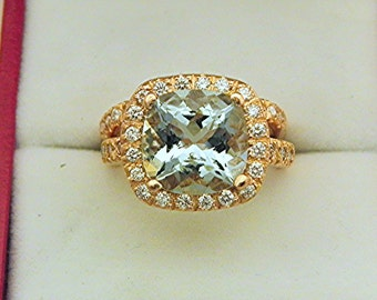 AAAA Blue Green Aquamarine  10x10mm  3.55 Carats   Cushion cut Halo Bridal in 14K Rose gold with .75 cts of diamond. BH99 1371