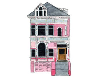 Pink House On Scott St., San Francisco - Collectible Print