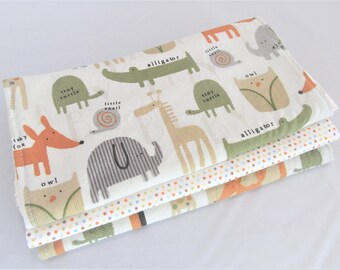 Baby Boy or Baby Girl Burp Cloth Gift Set - Frisky Fox and Friends - Elephants, Owls, Alligator, Turtle, Giraffe -New Baby Gift Burp Pad Set