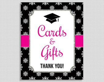 Graduation Cards and Gifts Sign, Hot Pink & Black Graduation Printable Sign, 8x10 inch, INSTANT PRINTABLE