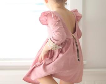 Isabella Dress - long sleeve dress - winter dress - dusty pink - toddler dress - party dress - birthday dress - girls dress - kids dress