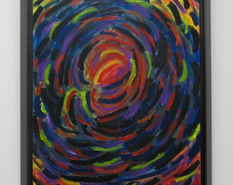 "Framed Abstract Painting Framed ""Wormhole"""