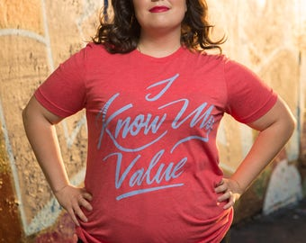 I know My Value T-Shirt | Unisex Agent Carter Shirt | Red