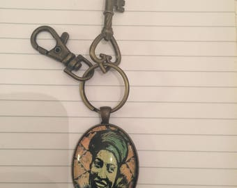 Retro Zora Neale Hurston Large Oval Keychain, Swivel Clip & Antique Key