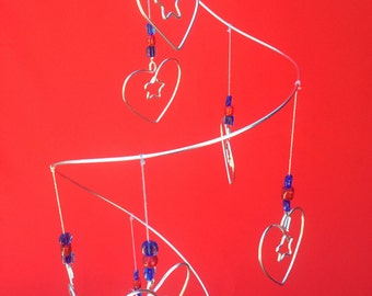 Starry Hearts Magical Mobile - Silver Aluminum Wire, Lovely Beads and 9 Unique Magical Stary Heart Charms