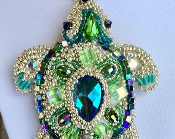 Embroidered green turtle pendant, turtle pendant