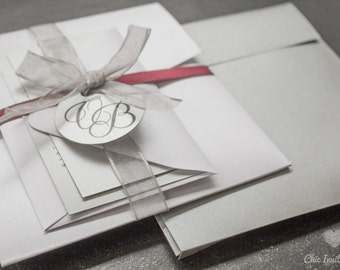 Wedding Invitation Silver Elegant Tradicional Wedding White Invitation Silver Tag Pocket Invite (50 INVITATIONS)