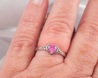 10K Ruby Heart Ring with White Gold Setting
