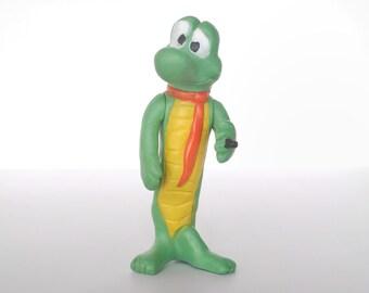 Vintage Albert Alligator soft vinyl plastic figure, Pogo Comics, 1969 P&G soap advertising premium, Walt Kelly, Japan 1960s green rubber toy