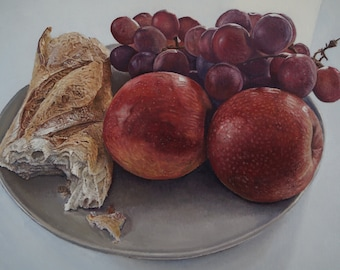 french apples and grapes