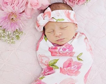 Rose Swaddle Blanket Set (pink)