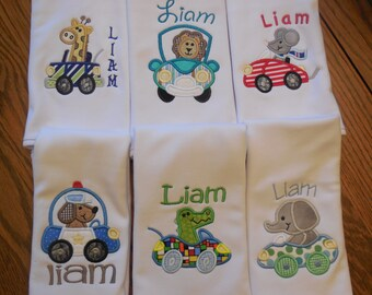 Baby boy Burp Cloth Burp Cloth for baby boy Burp cloths  Burp Cloths with Animals Burp Cloths with cars