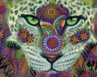original art  drawing 9x12 leopard big cat zentangle design abstract