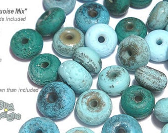 ACCENT Handmade Lampwork Beads 15 Spacers Ancient Turquoise Blue Rustic Matte Finish by Desert Bug Designs