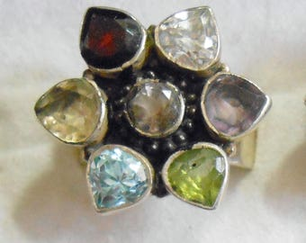 Size 8 Sterling Silver Ring New Vintage Wholesale Garnet Citrine Amethyst Peridot Blue Topaz