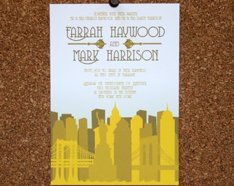 Set of 25 / Custom New York City Skyline Invitation / Yellow / Wedding / Event / Birthday / Bachelorette Party