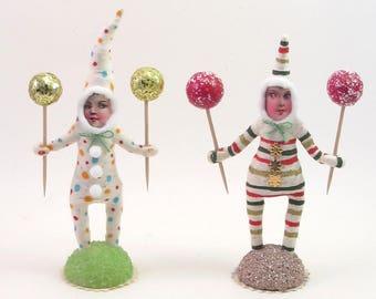 Spun Cotton Vintage Style Clown Figure (MADE TO ORDER)