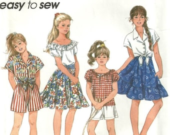 Vintage Simplicity 8309 Girls Boho Ruffle Skirt Tie Front Top Shorts Sewing Pattern Size 7 - 8 - 10 - Easy to Sew