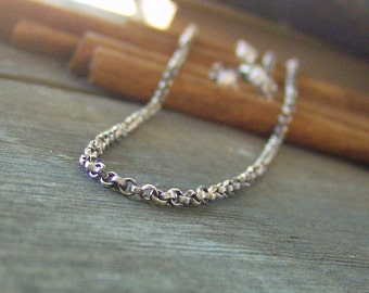30 inch oxidized sterling silver rolo chain hand finished with pearls