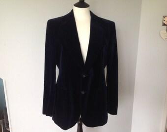 Mens Navy Velvet Blazer Size 39-40 Vintage M&S.