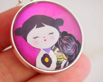 kokeshi doll necklace, kawaii doll pendant, kokeshi doll jewelry, purple cerise