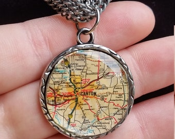 Canton Ohio vintage map necklace