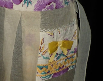 Purple Flowers and Yellow Bows Kitchen Apron