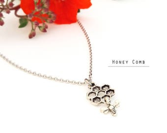 Honeycomb Necklace, Dangling bee charm, Bee jewelry, Save the bees, Bee Love Charm Necklace, Bee Charm, Honeycomb jewelry
