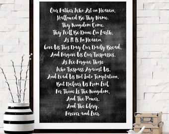 THE LORDS PRAYER Art Print, Bible Verse Print, Scripture Print, Motivational Quote, Inspirational Quote, Wall Art Decor, Housewarming Gift