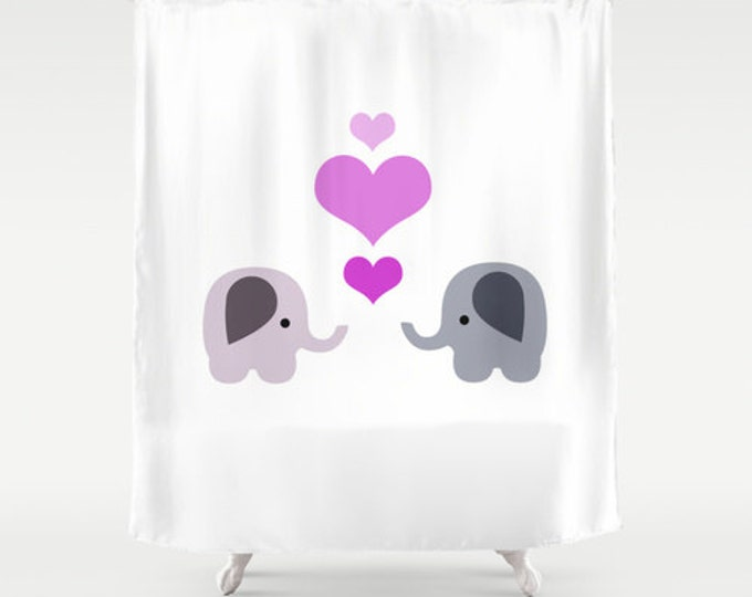 Childs Shower Curtain Elephants and Hearts - Bathroom Decor - Home Decor - Elephants With Hearts - Nursery Art - Made to Order