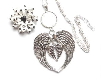 x support cabochon 25 mm, large angel wing and heart Angel necklace