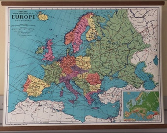 Phillip's Europe Vintage Hanging Map