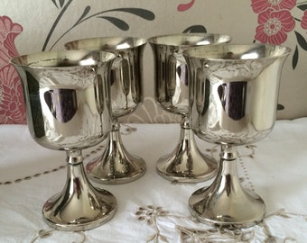 Four Ianthe, Silver Plated Wine/Toasting Goblets - Made in England.